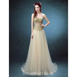 Australia Formal Dress Evening Gowns Ruby Champagne Ball Gown Strapless Long Floor Length Lace Dress Tulle