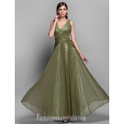Australia Formal Dress Evening Gowns Military Ball Dress Clover Plus Sizes Dresses Petite A-line Princess V-neck Long Floor-length Chiffon Lace