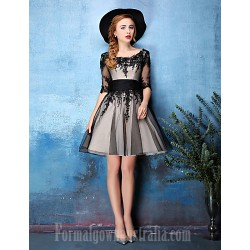 Australia Cocktail Party Dress Black A-line Scoop Short Knee-length Lace Tulle