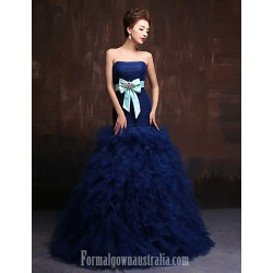 Australia Formal Dress Evening Gowns Dark Navy Ball Gown Strapless Long Floor-length Tulle Dress Charmeuse