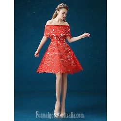 Australia Formal Dresses Cocktail Dress Party Dress Ruby A Line Off The Shoulder Short Knee Length Satin Tulle