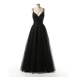 Australia Formal Dress Evening Gowns Dark Navy A-line Spaghetti Straps Long Floor-length Tulle Dress