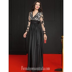 Australia Australia Formal Dress Evening Gowns Black A-line V-neck Long Floor-length Lace Dress Satin Taffeta