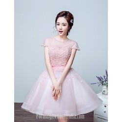 Australia Formal Dresses Cocktail Dress Party Dress Blushing Pink Ball Gown Jewel Long Floor Length Tulle Dress