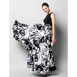 Australia Formal Evening Dress Print A-line Scoop Long Floor-length Chiffon Charmeuse