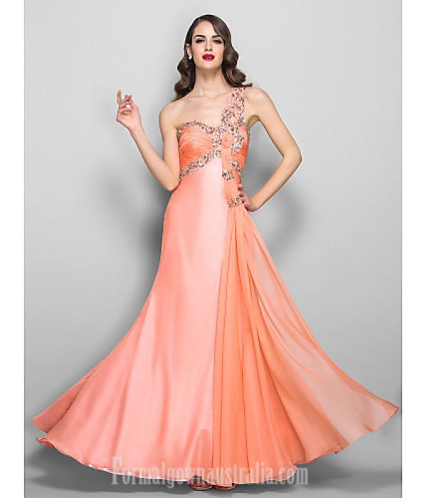 Australia Formal Dress Evening Gowns Prom Gowns Military Ball Dress Ruby Plus Sizes Dresses Petite A-line Sexy One Shoulder Long Floor-length Chiffon Stretch Satin Formal Dress Australia