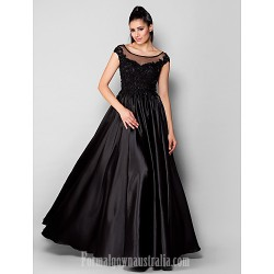 Australia Formal Evening Dress Black Plus Sizes Dresses Petite A-line Princess Scoop Long Floor-length Stretch Satin