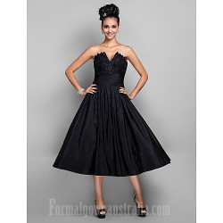Australia Cocktail Party Dresses Prom Gowns Holiday Dress Black Plus Sizes Dresses Petite A-line Princess V-neck Tea-length Taffeta