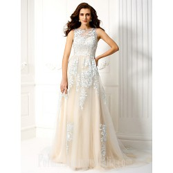 Australia Formal Dress Evening Gowns Sky Blue A Line Bateau Court Train Tulle