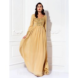 A-line Plus Sizes Dresses Petite Mother of the Bride Dress Gold Long Floor-length Long Sleeve Chiffon