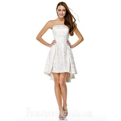 Australia Cocktail Party Dress Ivory A-line Strapless Asymmetrical Lace