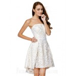 Australia Cocktail Party Dress Ivory A-line Strapless Asymmetrical Lace Formal Dress Australia