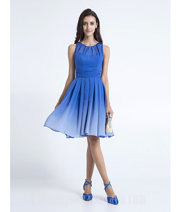 Short Knee-length Chiffon Bridesmaid Dress Royal Blue Plus Sizes Dresses Petite A-line Scoop Formal Dress Australia