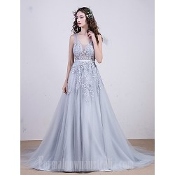 Australia Cocktail Party Dresses Australia Formal Evening Dress Multi-color A-line V-neck Court Train Lace