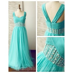 Australia Formal Dress Evening Gowns Jade A-line Straps Long Floor-length Chiffon Tulle