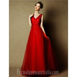 Australia Formal Dress Evening Gowns Burgundy Plus Sizes Dresses A-line V-neck Long Floor-length Tulle Dress
