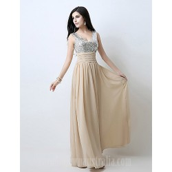 Australia Formal Dress Evening Gowns Champagne Plus Sizes Dresses Petite A-line V-neck Long Floor-length