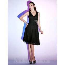 Australia Cocktail Party Dresses Holiday Dress Black Plus Sizes Dresses Petite A-line Princess V-neck Short Knee-length Chiffon