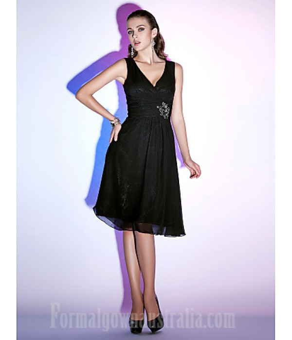 Australia Formal Dresses Cocktail Dress Party Dress Holiday Dress Black Plus Sizes Dresses Petite A-line Princess V-neck Short Knee-length Chiffon Formal Dress Australia