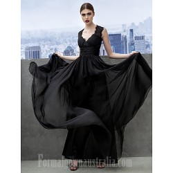 Australia Formal Dress Evening Gowns Black A Line Sweetheart Long Floor Length Chiffon