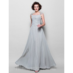 A Line Plus Sizes Dresses Petite Mother Of The Bride Dress Silver Long Floor Length Sleeveless Chiffon Lace