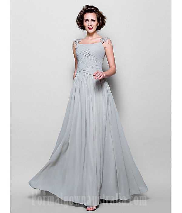 A-line Plus Sizes Dresses Petite Mother of the Bride Dress Silver Long Floor-length Sleeveless Chiffon Lace Formal Dress Australia