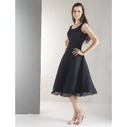 Short Knee-length Chiffon Bridesmaid Dress Black Plus Sizes Dresses Petite A-line Straps