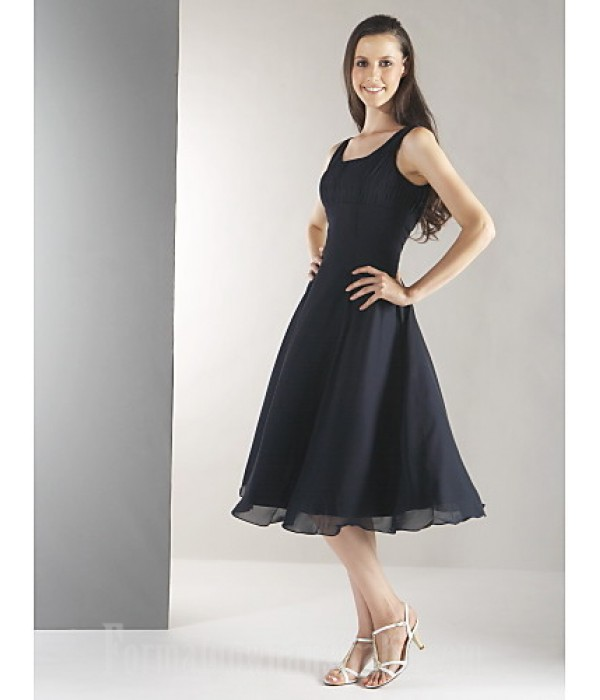 Short Knee-length Chiffon Bridesmaid Dress Black Plus Sizes Dresses Petite A-line Straps Formal Dress Australia