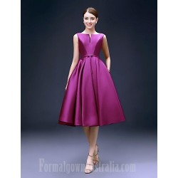 Australia Formal Dresses Cocktail Dress Party Dress Grape Plus Sizes Dresses A Line Bateau Short Knee Length Satin
