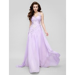 Australia Formal Dress Evening Gowns Lavender A Line Jewel Court Train Chiffon Tulle