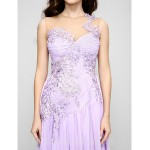 Australia Formal Evening Dress Lavender A-line Jewel Court Train Chiffon Tulle Formal Dress Australia