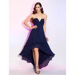 Australia Formal Dresses Cocktail Dress Party Dress Homecoming Holiday Dress Dark Navy Plus Sizes Dresses Petite A Line V Neck Asymmetrical Georgette