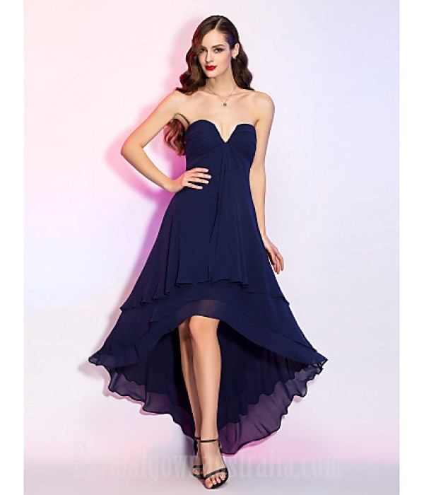 Australia Formal Dresses Cocktail Dress Party Dress Homecoming Holiday Dress Dark Navy Plus Sizes Dresses Petite A-line V-neck Asymmetrical Georgette Formal Dress Australia