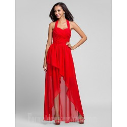 Asymmetrical Long Floor-length Chiffon Bridesmaid Dress Ruby Plus Sizes Dresses Petite A-line Princess Halter