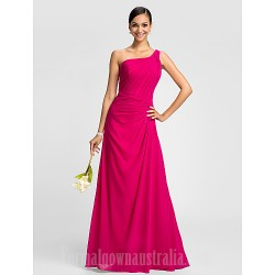 Dress Fuchsia Plus Sizes Dresses Petite A Line Sexy One Shoulder Long Floor Length Chiffon
