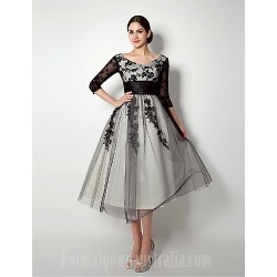 A Line Mother Of The Bride Dress Black Short Knee Length Tulle