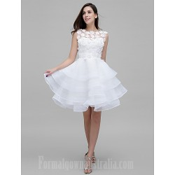 Australia Formal Dresses Cocktail Dress Party Dress Ivory A-line Jewel Short Knee-length Tulle