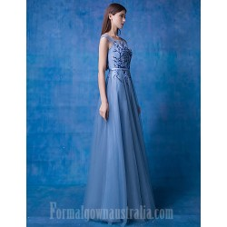 Australia Formal Dress Evening Gowns Ocean Blue A Line Scoop Long Floor Length Lace Dress Tulle