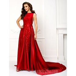 Australia Formal Dress Evening Gowns Burgundy A Line Jewel Chapel Train Satin
