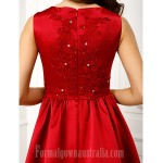 Australia Formal Evening Dress Burgundy A-line Jewel Chapel Train Satin Formal Dress Australia