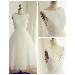 Australia Formal Dresses Cocktail Dress Party Dress Ivory A Line Bateau Tea Length Tulle Sequined