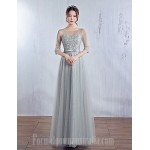 Australia Formal Dress Evening Gowns Silver Ball Gown Jewel Long Floor-length Satin Tulle Formal Dress Australia