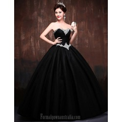 Australia Formal Dress Evening Gowns Black Daffodil Petite Ball Gown Sweetheart Long Floor-length Lace Dress Satin Tulle Polyester