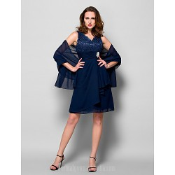 A-line Plus Sizes Dresses Petite Mother of the Bride Dress Dark Navy Short Knee-length Sleeveless Chiffon Lace