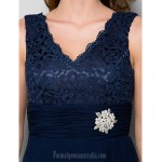 A-line Plus Sizes Dresses Petite Mother of the Bride Dress Dark Navy Short Knee-length Sleeveless Chiffon Lace Formal Dress Australia