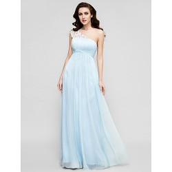 Prom Gowns Military Ball Australia Formal Dress Evening Gowns Sky Blue Plus Sizes Dresses Petite A-line Princess Sexy One Shoulder Long Floor-length Chiffon Tulle