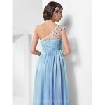 Prom Gowns Military Ball Australia Formal Dress Evening Gowns Sky Blue Plus Sizes Dresses Petite A-line Princess Sexy One Shoulder Long Floor-length Chiffon Tulle Formal Dress Australia