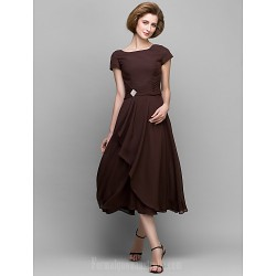 A Line Mother Of The Bride Dress Chocolate Tea Length Short Sleeve Chiffon