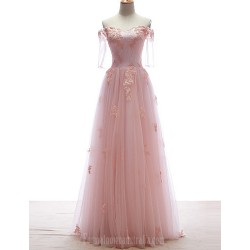 Australia Formal Dress Evening Gowns Candy Pink Petite A Line Off The Shoulder Long Floor Length Lace Dress Tulle