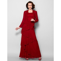 A-line Plus Sizes Dresses Petite Mother of the Bride Dress Burgundy Long Floor-length Long Sleeve Georgette